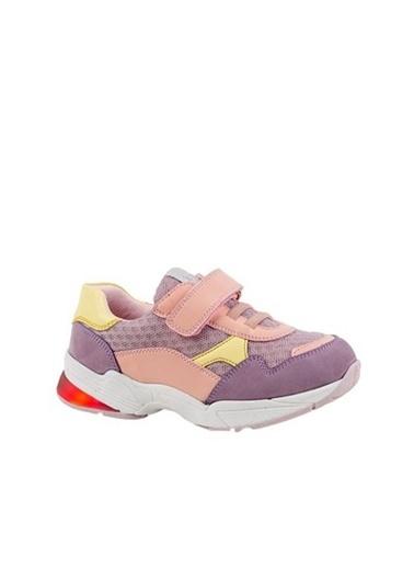 Kids A More Auro Tek Cırtlı Air File Detaylı Deri Kız Çocuk Işıklı n Sneaker  Lila